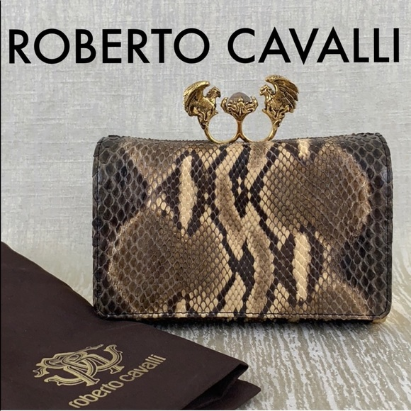 b80c6eda00 ROBERTO CAVALLI PYTHON EVENING BAG 💯AUTHENTIC. M 5bd361457386bc118a48c8f7